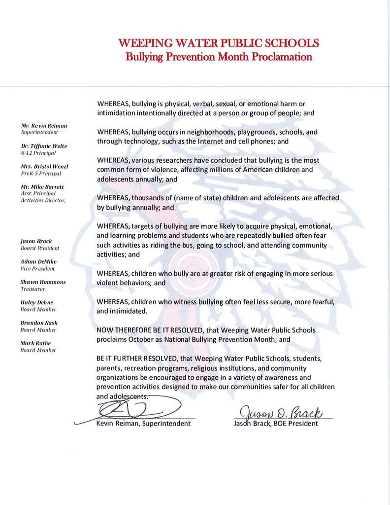 Bullying Prevention Month Proclamation