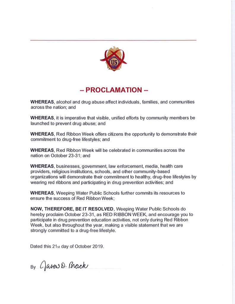 Red Ribbon Week Proclamation