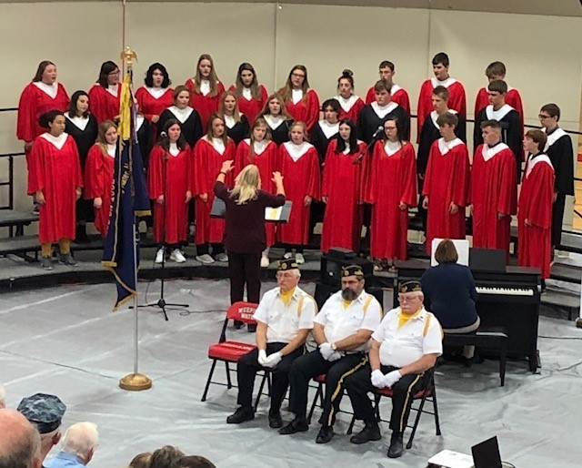 "The WWPS Choir sang the ""Star Spangled Banner"" and ""In Flanders Fields"" as part of today's Veterans Day celebration."