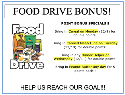 Bonus Opportunities for Food Drive Points