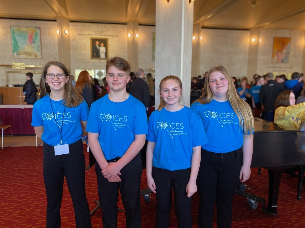 Lindsy Cronk, Brennan DeMike, Haylee Stackpole, Samantha Hall, Middle School Honor Choir
